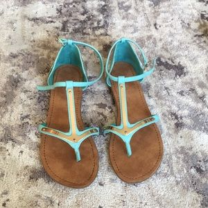 Turquoise and gold sandals